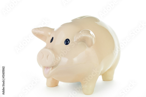 Piggy bank against a white background.