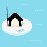 Fototapeta Fishing penguin