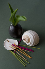 Aromatic Sticks, Porcelain Stand and Japan Vase