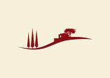 Fototapety Vektor Haus Icon mit Hügellandschaft und zypressen