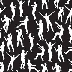 Seamless  the image of dancing young men. Vector illustration