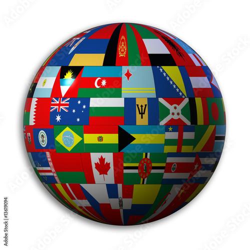 le globe avec des drapeaux du monde