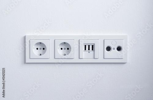 Steckdose, Telefonanschluss, DSL Strom, eckig 2 - 13621225