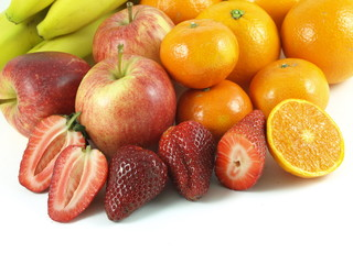 Fruits: apples, strawberries, oranges.