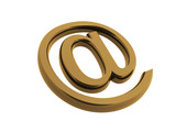 gold email symbol isp;ated on white poster