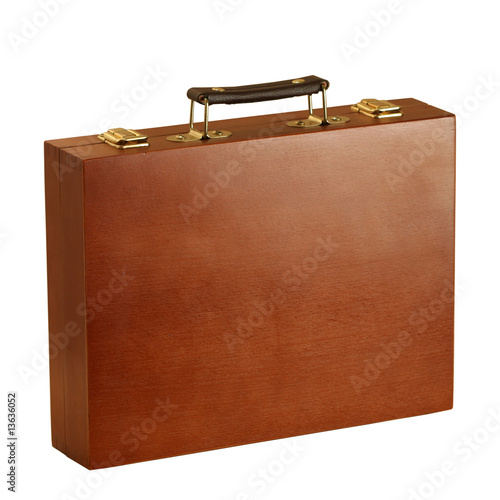 Wooden suitcase with the leather handle