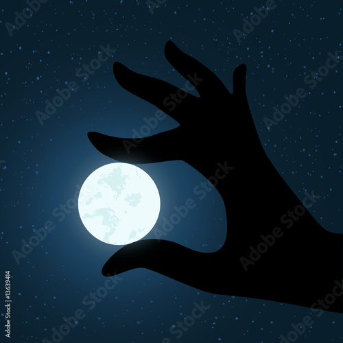 vector hand holding the moon