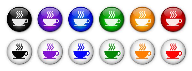 """Boutons """"Pause Café"""" (x12 - Multicolores)"""