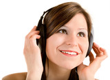 Lady Listening to Music with Headphones