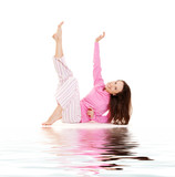 young woman in pink pajamas relaxing poster