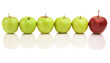 Green apples with red leader