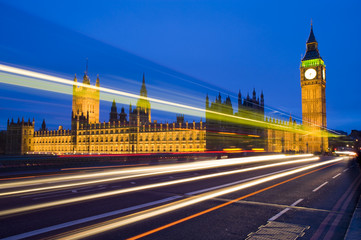 traffic in central london at big ben