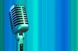 retro microphone in blue light