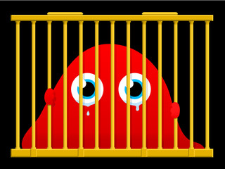 Cute an sad monster in a cage