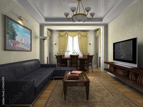 Современный интерьер в классическом стиле, иллюстрация 829906.