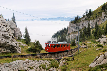Mountain railway in Swiss Alps