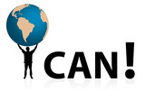 "Conceptual ""I CAN"" illustration with man holding globe"