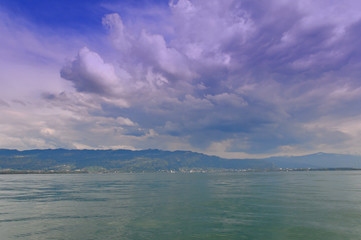 Storm clouds building above Lake Constance