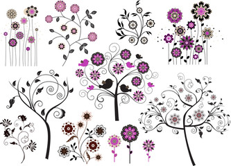 Set of abstract design floral elements
