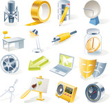 Fototapety Vector objects icons set. Part 11
