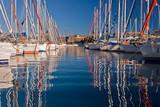 Row of sailing boats