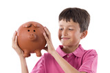 Adorable child with moneybox poster