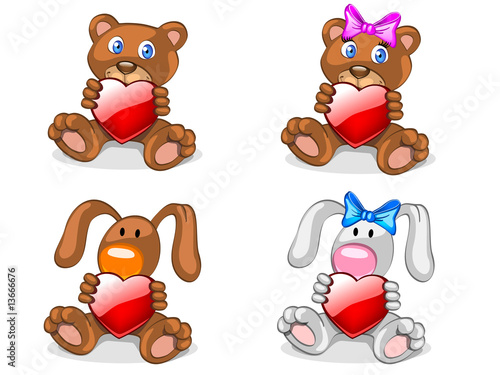 bears and rabbits with heart