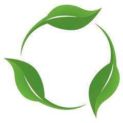 Circular Green Leaves Logo Icon