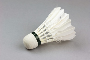 Badminton shuttlecock on gray