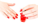 nails with red varnish poster