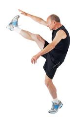 Senior man. Stretching