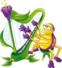 Spider with harp