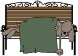 Dog Asleep On A Bench poster