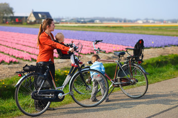 Bicycling in Tulip Fields