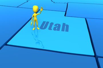 Utah state outline with yellow stick figure