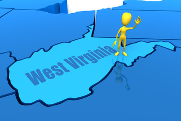 West Virginia state outline with yellow stick figure