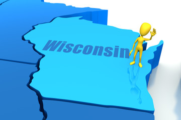Wisconsin state outline with yellow stick figure