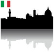 Black vector Florence silhouette skyline with Italian flag
