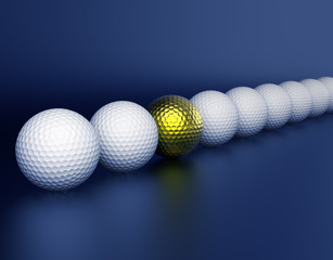 Row of golf balls and golden ball in center