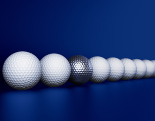 Row of golf balls