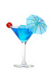 Blue martini with a cherry