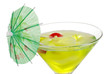 Closeup of a Green martini with an umbrella