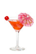 Isolated red martini with an umbrella