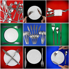 Collage of forks, knifes, spoons on colour backgrounds.