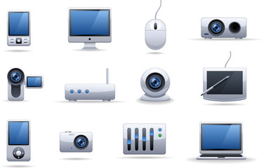Hi-tech equipment icon set