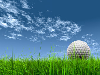 high resolution 3d white golf ball in green grass