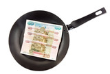 Frying pan with the russians moneys- roubles. Isolated poster