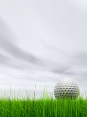 3d white golf ball in green grass on a blue sky with clouds