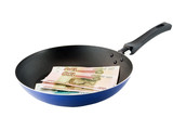Ffrying pan with the russians moneys-roubles. Isolated poster