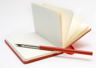 Open Red Notebook and Red Pen
